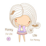 Cute girl scattering money Stock Image