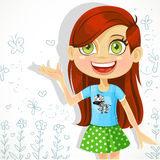 Cute girl of school-age tells the story Royalty Free Stock Photos