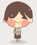 Cute girl school uniform.white background vector Stock Photo