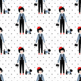 Cute girl with scottish terrier seamless pattern on polka dots background. Stock Photo