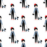 Cute girl with scottish terrier seamless pattern on white background. Stock Photography