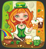 Cute girl serving  Saint Patrick's Day. Cute girl bartender serving beer at Saint Patrick's Day party Royalty Free Stock Image
