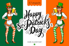 Cute girl serving Saint Patrick's Day beer - vector banner Royalty Free Stock Photo