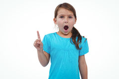 Cute girl shaking finger saying no to the camera. On white screen Stock Photos