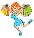 Cute Girl Shopping Stock Photo