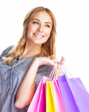 Cute girl with shopping bag Stock Photos