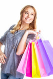 Cute girl with shopping bag Stock Photography