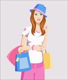 Cute girl at the shopping with bags Royalty Free Stock Photo
