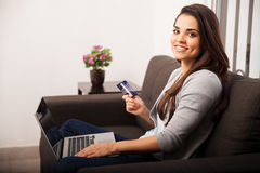 Cute girl shopping online Royalty Free Stock Image