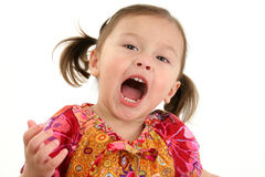 Cute girl shouting. Half body portrait of cute Japanese American girl shouting with mouth open, isolated on white background Stock Photo