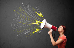 Cute girl shouting into megaphone with hand drawn lines and arro Royalty Free Stock Photos