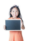 Cute girl show black board isolated Royalty Free Stock Photography