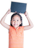 Cute girl show black board isolated Royalty Free Stock Photos