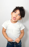 Cute girl show funny face Stock Images