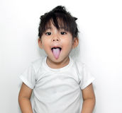 Cute girl show funny face Royalty Free Stock Images