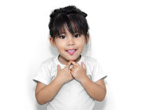 Cute girl show funny face Royalty Free Stock Photo