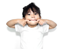 cute girl show funny face Royalty Free Stock Image