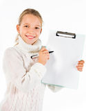 Cute girl showing a blank paper Stock Photo
