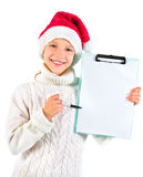 Cute girl showing a blank paper Royalty Free Stock Photo