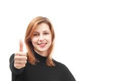 Cute girl showing thumb Stock Photos