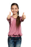 Girl showing thumbs up with both hands Royalty Free Stock Photography