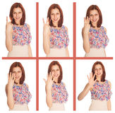Girl shows her fingers expense Royalty Free Stock Photo