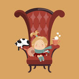 Cute girl sick cold. Sitting in the big chair. Vector illustration Stock Photography