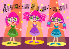 Cute girl singing cartoon vector Royalty Free Stock Photo