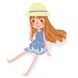 cute girl in sit pose wear hat and dress. Stock Photo