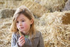 Cute girl sitting alone on haystacks Royalty Free Stock Photos