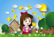 Cute girl sitting in a flower garden. Cute girl sitting in a flower garden with a lot of birds Stock Images