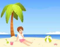 Cute girl sitting on the sunny beach Royalty Free Stock Photography