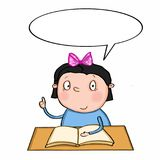 Cute girl sitting on the table and speaking. School desk book Royalty Free Stock Photography