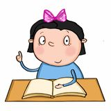 Cute girl sitting on the table. And speaking school desk book Royalty Free Stock Photography