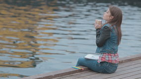Cute girl sitting on wooden pier with picture and stock footage