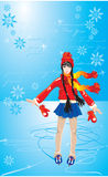 The cute Girl on skating rink. Figure on beautiful winter background with snowflakes Royalty Free Stock Images