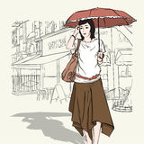 Cute girl in sketch-style. Royalty Free Stock Images