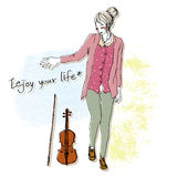 Cute girl sketch with violin background. Girl with violin,icon,vector drawing Stock Photo