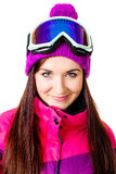 Cute girl in a ski suit Stock Photo