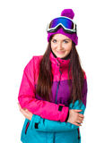 Cute girl in a ski suit Royalty Free Stock Images