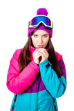 Cute girl in a ski suit Stock Photography