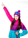 Cute girl in a ski suit Stock Photos