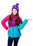 Cute girl in a ski suit Royalty Free Stock Photo