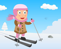 Cute Girl Skiing on the Snow in the Park Royalty Free Stock Images