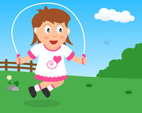 Cute Girl Skipping with Rope in the Park Stock Image