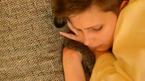 Cute girl sleeping stock video