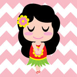 Cute girl is sleeping on chevron background  cartoon, summer postcard, wallpaper, and greeting card Stock Photo