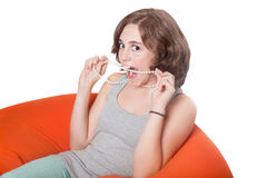 Cute girl with sly look Royalty Free Stock Photos
