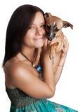 Cute girl small dog Royalty Free Stock Photos