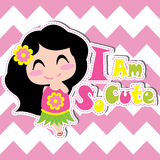 Cute girl smiles on chevron background vector cartoon, summer postcard, wallpaper, and greeting card Stock Photography